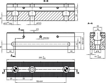 Clamping Bars length 200  IM0006590 Zeichnung