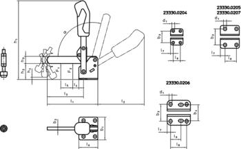 Sauterelles verticales avec embase horizontale et bras d'appui soudé  IM0009332 Zeichnung
