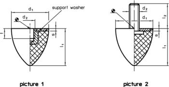 Rubber Endstop Buffers parabolic  IM0000817 Zeichnung en