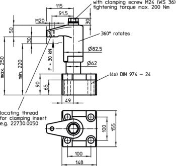 Down-Thrust Clamps swivelling, size 82.5  IM0005609 Zeichnung en