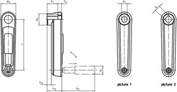 Crank Handles with folding handle, stainless steel  IM0009664 Zeichnung en