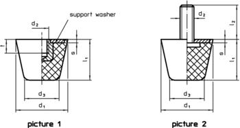 Rubber Endstop Buffers truncated cone form  IM0009829 Zeichnung en
