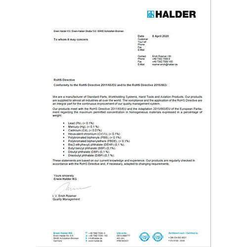 RoHS - Directive (EU) 2011/65/EU & 2015/863/EU